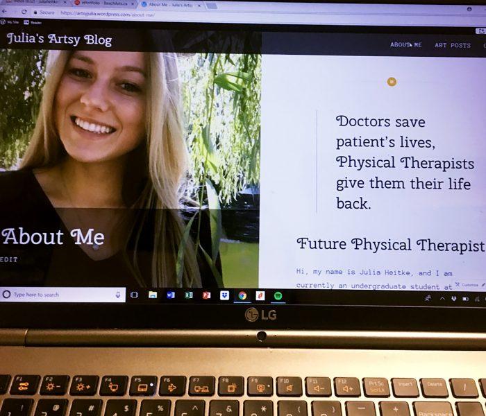 Julia Heitke's website as displayed on a laptop computer