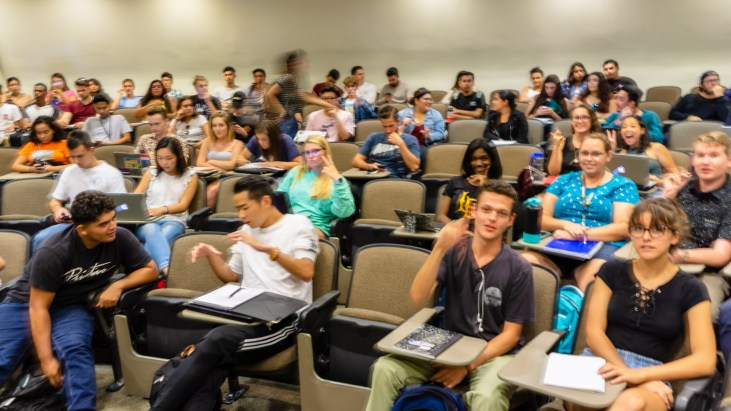Art 110 students in Psychology-150 on the 1st day of Fall Semester, 2018