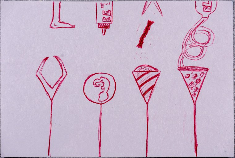 drawing of different items in balloons and floating from strings. Drawing in red ballpoint pen