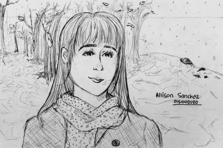"""pencil drawing of fictitious Art 110 sage """"Tsugarukko"""""""