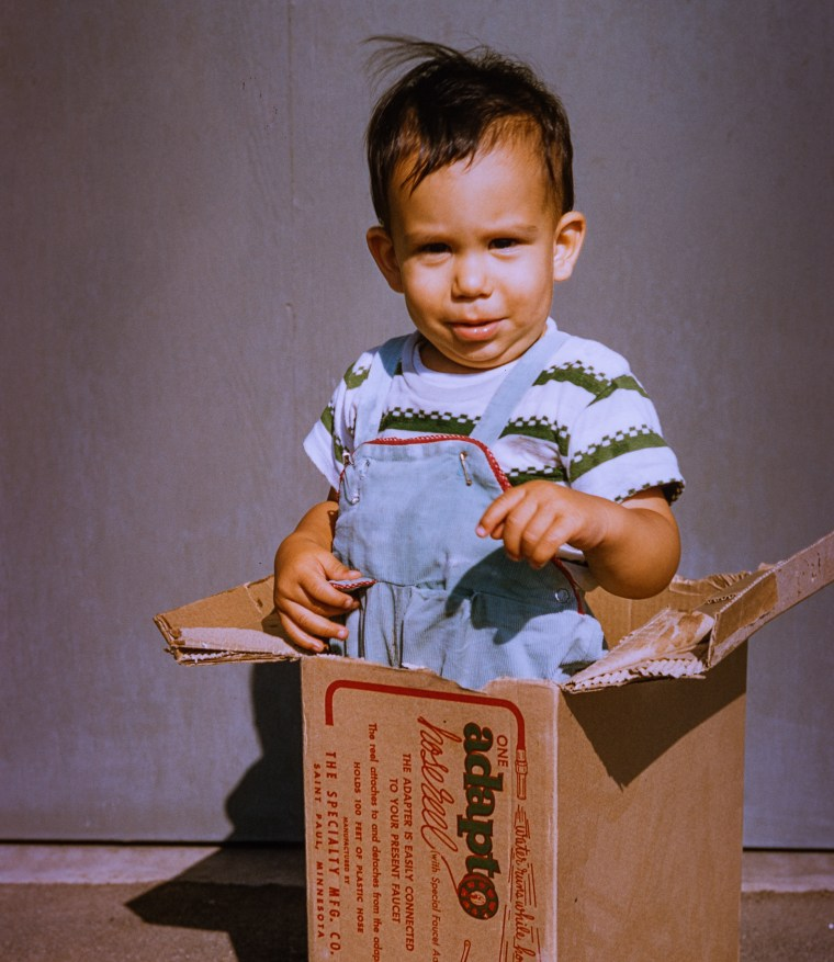 Childhood photo of Glenn Zucman inside a cardboard box