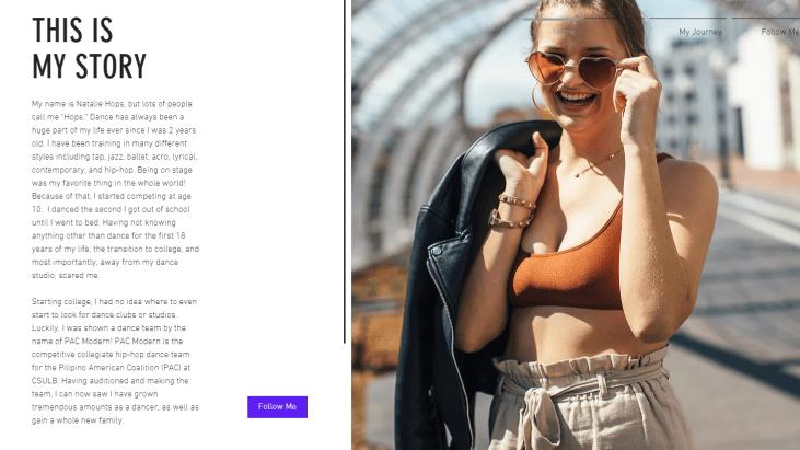 """eportfolio website home page for Natalie """"Hops"""" Hops, hip hop dancer"""