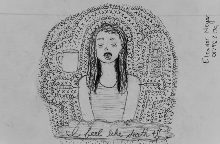 "black-and-white pencil drawing of Art 110 sage ""Chantae"""
