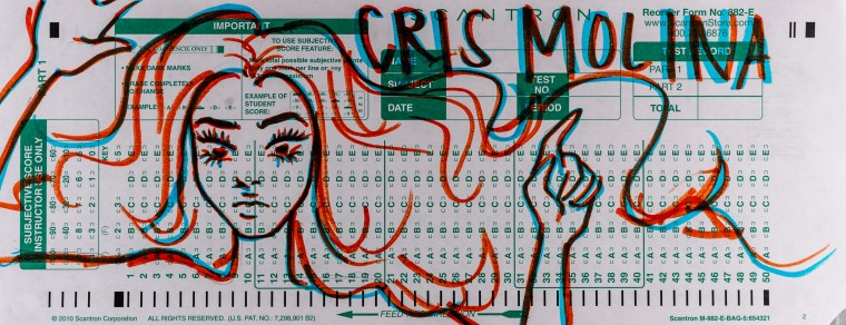 Cris Molina's Scantron Midterm. In this drawing Molina uses the length of a scantron 882-e form to do a drawing of a woman with wide, flowing hair. The drawing is in orange and blue hiliter