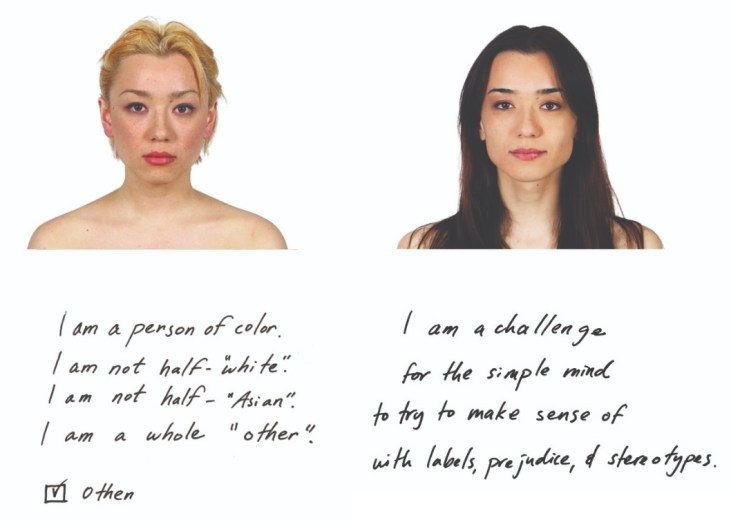 a diptych featuring portraits of the same person 15 years apart and with a brief text entry by the person at each age