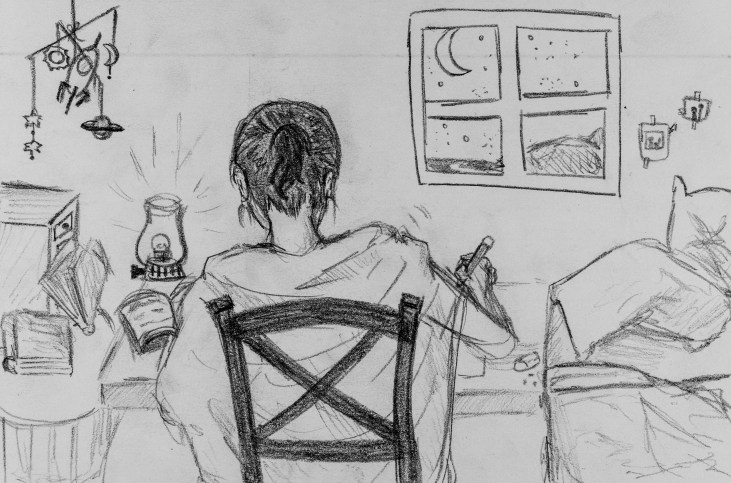 Pencil sketch of Art 110 sage Rhonda working at her desk with a lamp on the corner of the desk and the moon out her window