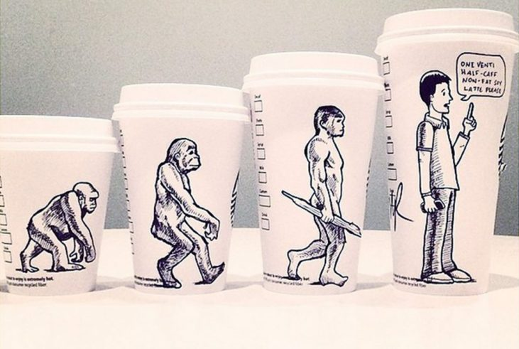 """Starbucks cups in 4 different sizes and on each cup is an """"ascent of man"""" illustration from primates on all 4's, to walking upright. In the last frame, the upright human orders a coffee"""