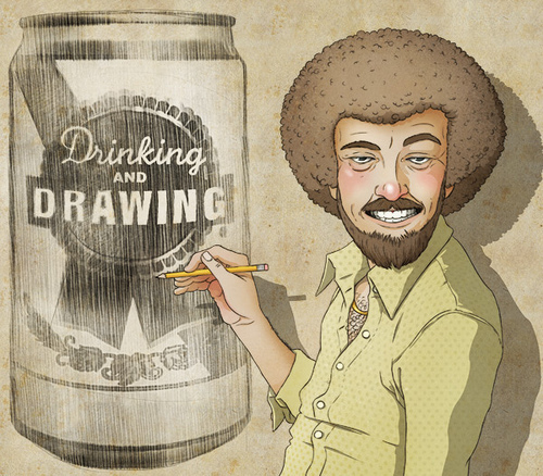 "Illustration of a ""Bob Ross"" looking character drawing a can of beer that has a label on it that reads ""Drinking and Drawing"""