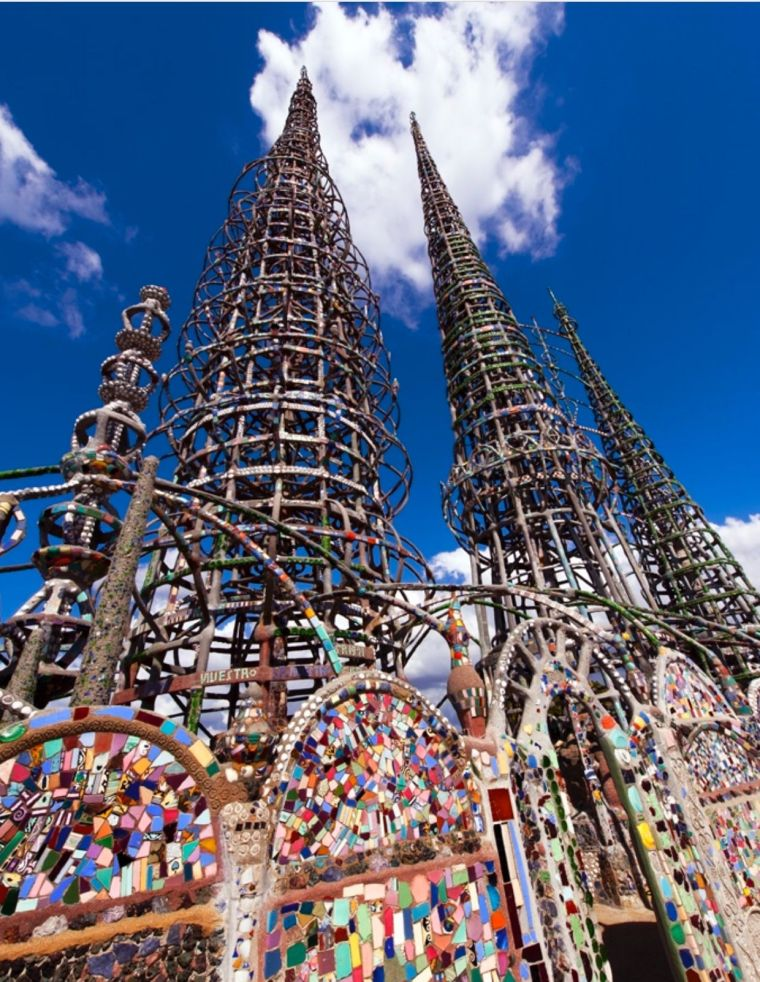 Watts Towers, an epic series of backyard mosiac towers created by Simon Rodia between 1921 and 1954