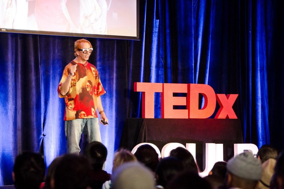 Glenn Zucman on stage at TEDxCSULB