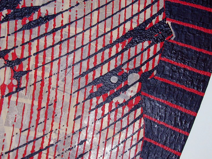 detail view of red & black encaustic painting