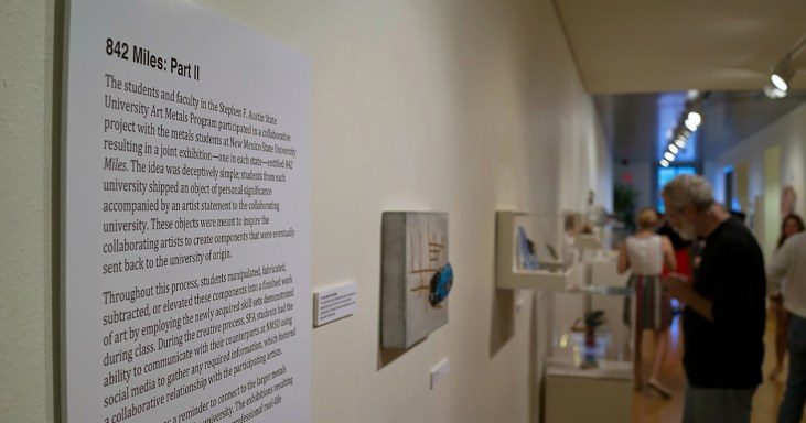 photo of an art exhibition: in the foreground is an artist's statement on the wall, and then receding into an out-of-focus background are various artworks on exhibition
