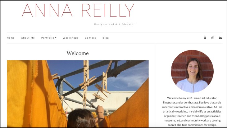 screen capture of Anna Reilly's homepage at http://annareilly.com/