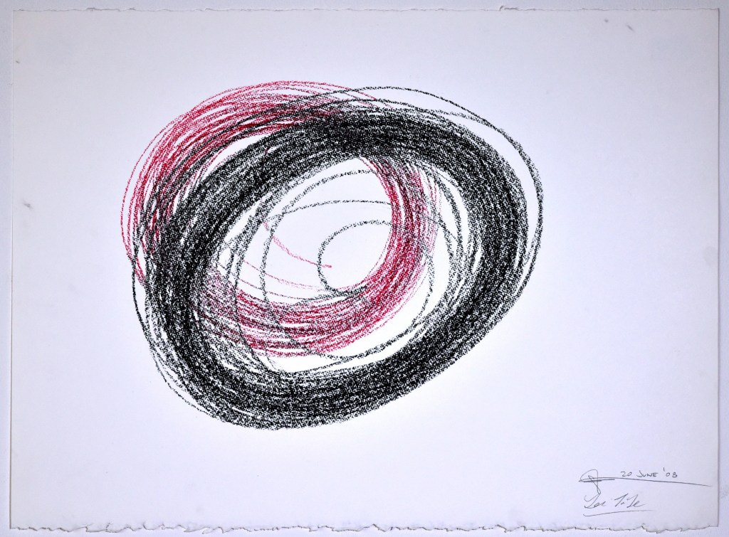 "Automatic Drawing #11, 20 June 2008, conte crayon on paper, 22x30"", Lee Tuyet Le & Glenn Zucman"