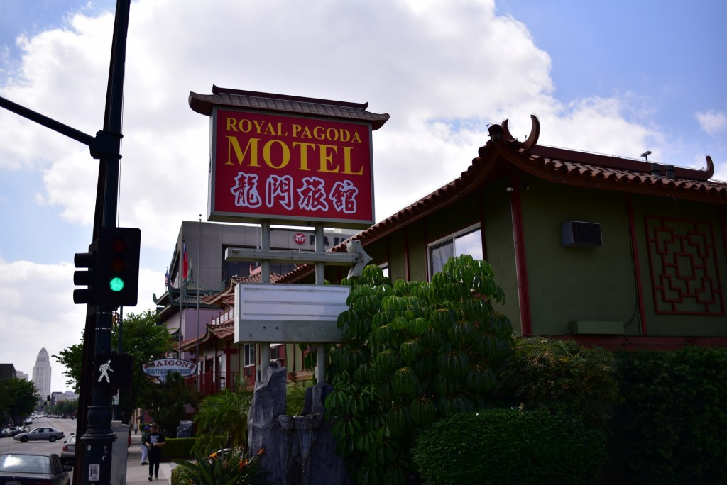 street view of the Royal Pagoda Motel's big red sign