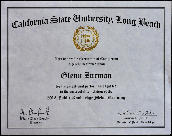California State University, Long Beach, Certificate, signed by Jane Close Conoley, President, and Susan C. Mills, Director of Public Knowledge