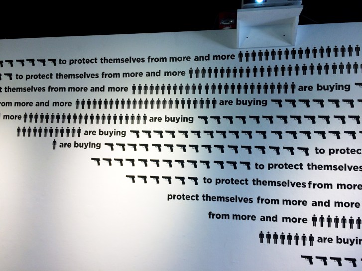 wall text and repeated graphics of guns and men's silhouettes