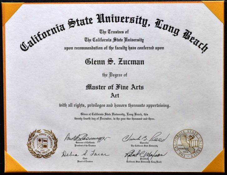 Glenn Zucman's Master of Fine Arts (MFA) in Art Diploma from California State University, Long Beach, 2003