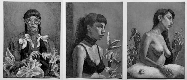 3 graphite & charcoal drawings by Andrea Arnott. The triptych of self-portraits show Arnott with flowers. Arnott's clothing is successively removed as the flowers wilt.