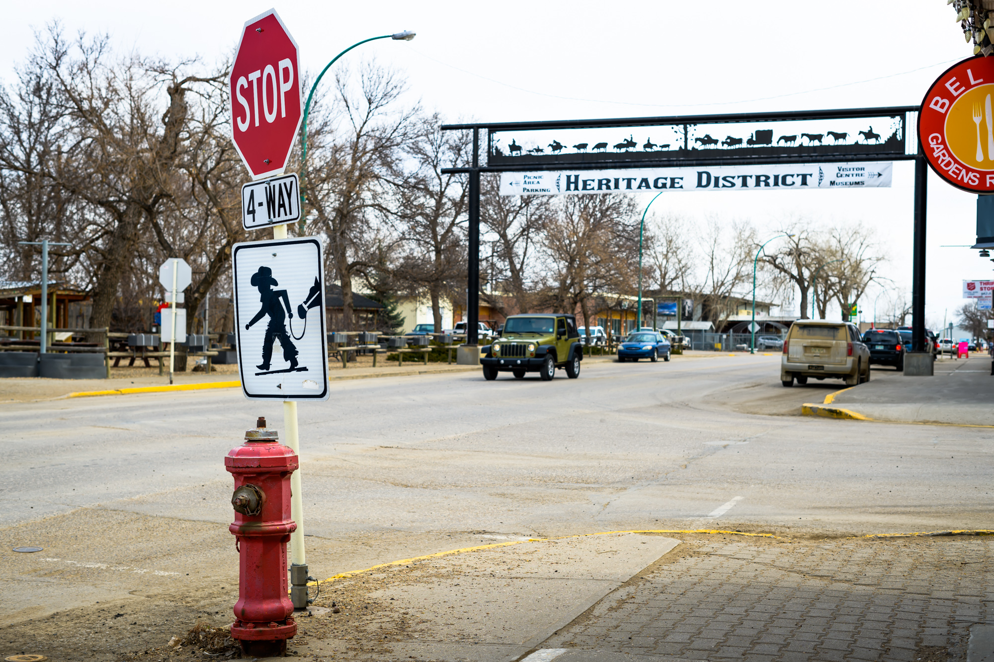 Crosswalk sign in Maple Creek, SK