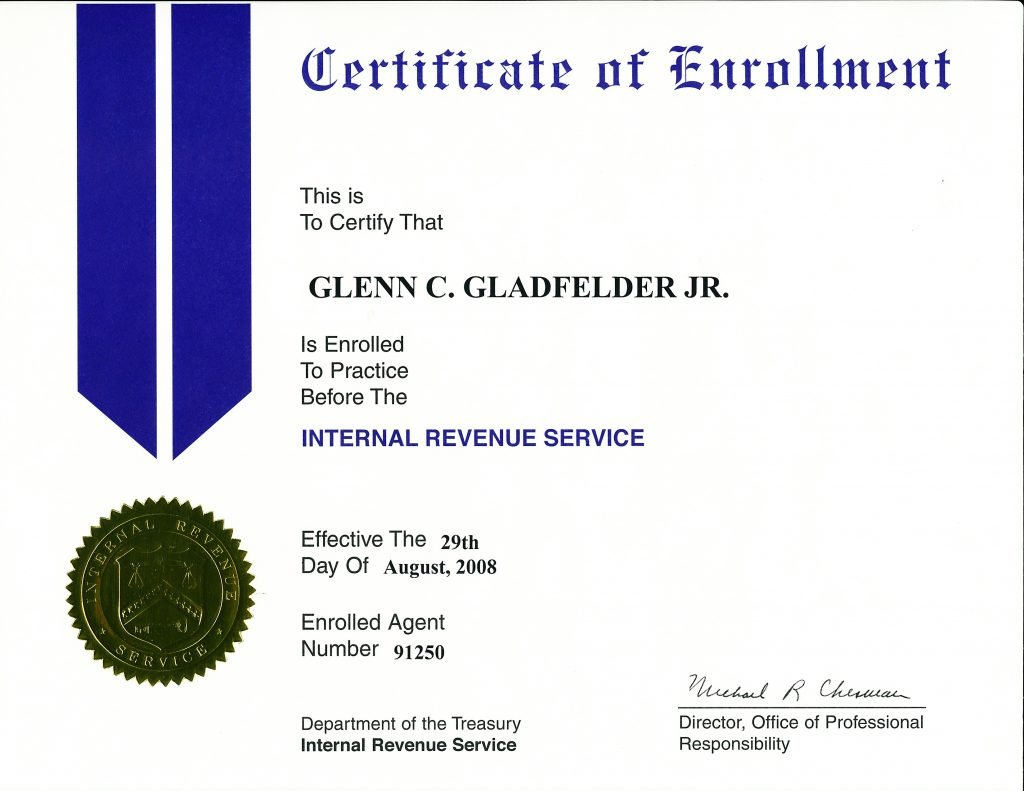 Enrolled Agent certificate