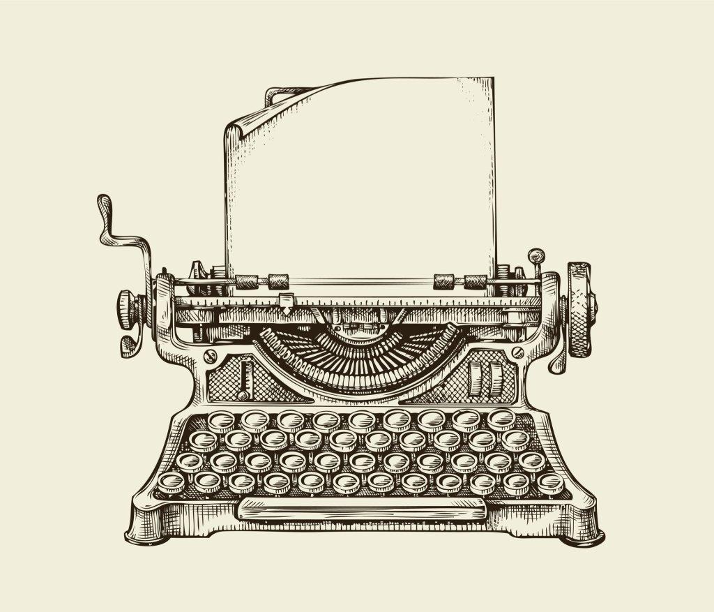 Black and white drawing of vintage typewriter