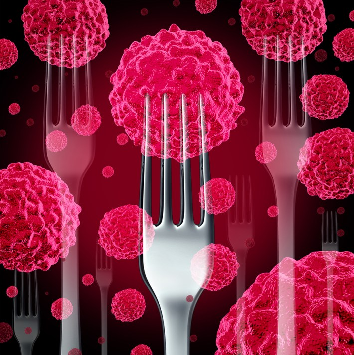 Fork with cancereous tumors