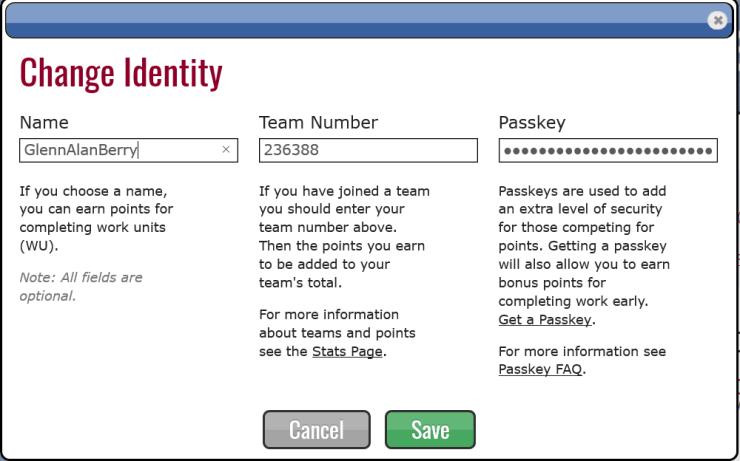 Change Identity Screen