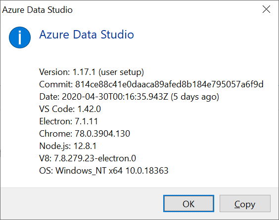 Azure Data Studio About Screen