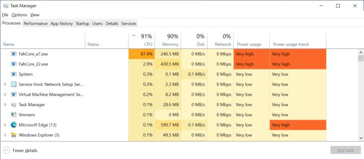 Windows Task Manager Running FAH