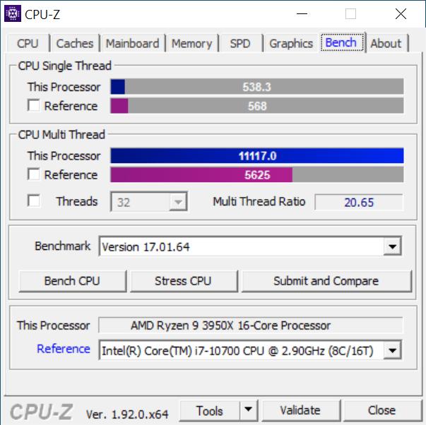 CPU-Z Benchmark Tab