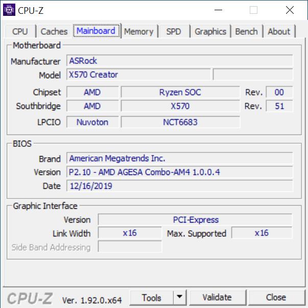 CPU-Z Mainboard Tab