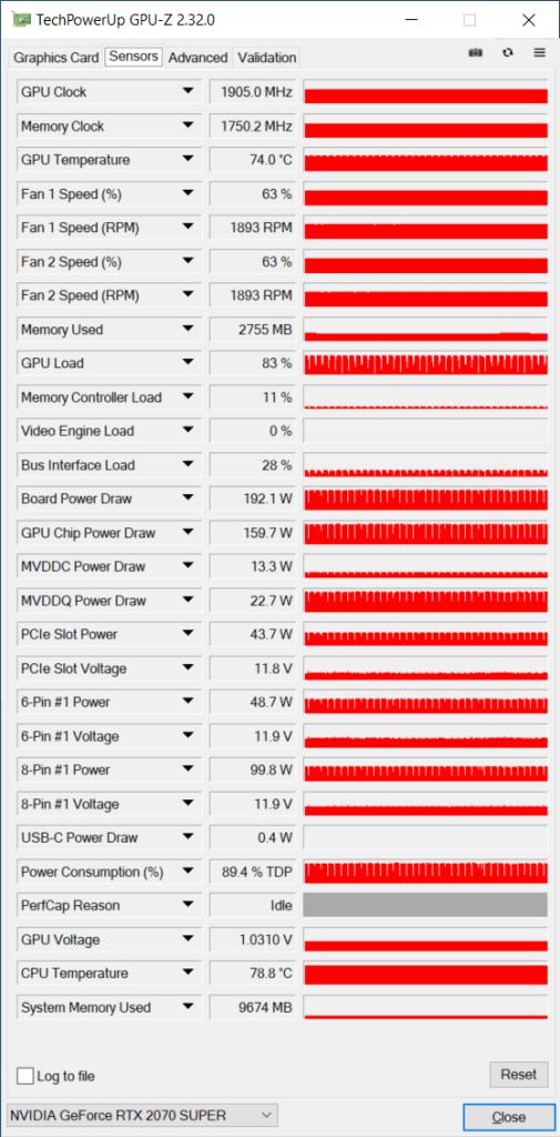 GPU-Z Sensors Tab