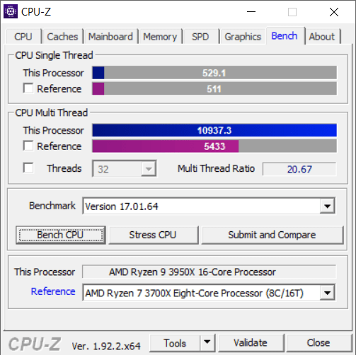 CPU-Z Bench Tab