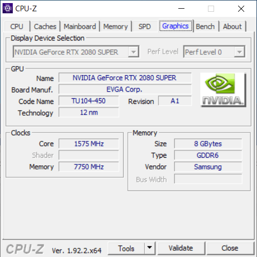CPU-Z Graphics Tab