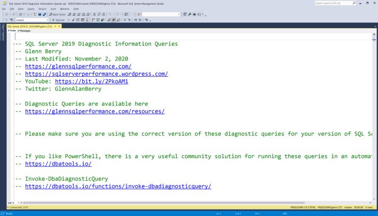 SQL Server Diagnostic Information Queries for November 2020