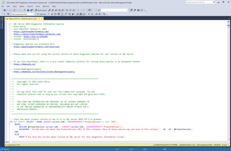 SQL Server Diagnostic Information Queries for January 2021