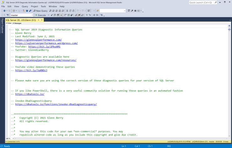 SQL Server Diagnostic Information Queries for June 2021