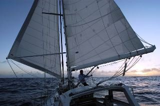 An example of sailing wing-on-wing