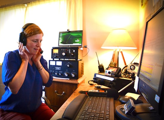 Claire on the ham radio