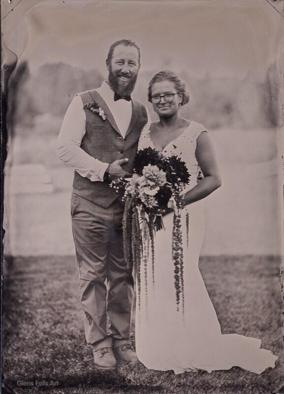 wedding bride groom fine art tintype portrait by glens falls ny area fine art photographer craig murphy and his glens falls art tintype studio