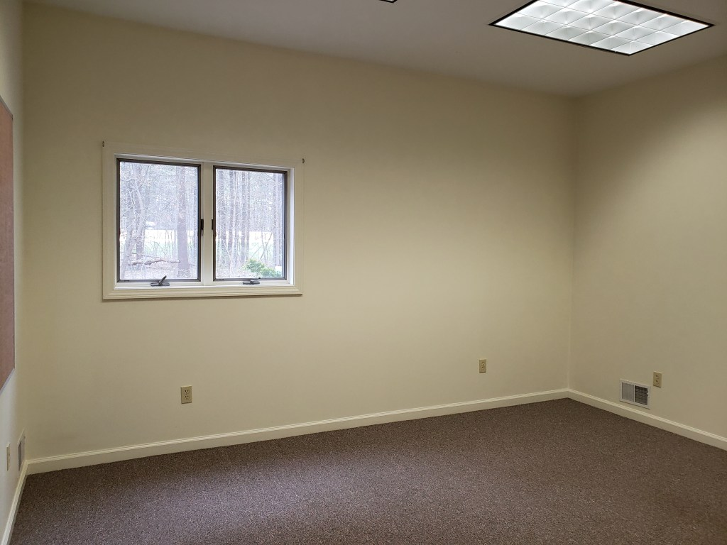A room with clean white walls, dark flat carpeting and a small window.