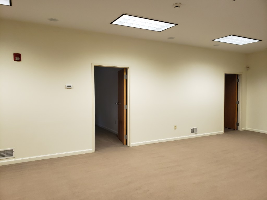 A large room with white walls, tan carpeting, and two open doorways.