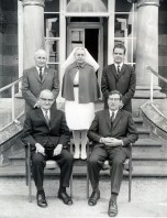 P 63, 1970, Snr Admin Staff in front of Admin Bldg, Back Row A Warren AChief Male Nse, NM Birch M