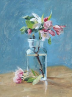 Apple Blossoms on Blue by Deb Anderson