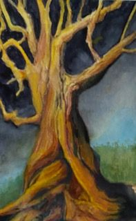 JoAnne Tatge, A tree of old colored watercolor pencils on paper