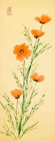 Kay Thomas, CALIFORNIA POPPIES Sumi-e