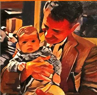 "Lee Colpi: ""I worked on the ""light"" in this painterly self-portrait with my granddaughter."""