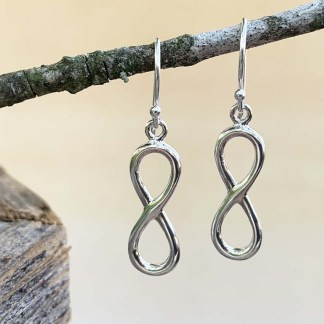 Silver Infinity Dangle Earrings