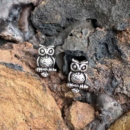 Sterling Owl Stud Earrings